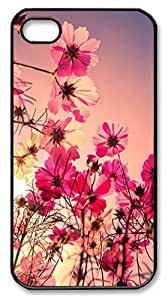 IMARTCASE iPhone 4S Case, Pink Flowers Sunset PC Black Hard Case Cover for Apple iPhone 4S/5