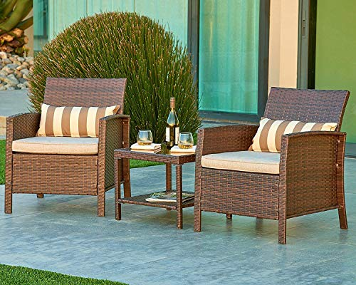 Suncrown Outdoor Modular Furniture Wicker Chairs with Glass Top Table (3-Piece Set) All-Weather | Thick, Durable Cushions | Porch, Backyard, Pool or Garden -