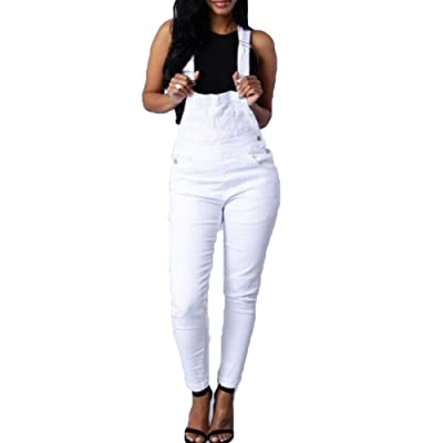 Femmes Denim Déchiré Distressed Casual Sans manches Combinaison Longue Combinaison Pantalon Pantalon Salopette Juleya