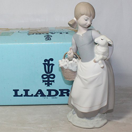 Lladro Porcelain Figurine 4835, Girl with (Lladro Girl Lamb)