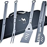 Kona BBQ Grill Tools Set With Case - 18'' Long To Keep Hands Away From Heat, Premium Stainless Steel Grilling Utensils With Bottle Opener Handles - Makes A Great Gift