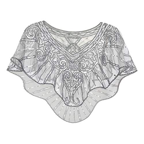 Metme 1920s Shawl Wraps Sequin Beaded Evening Cape Bridal Shawl Bolero Flapper Cover Up Gray + Silver, Free Size