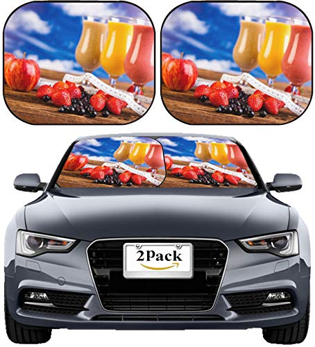 MSD Car Sun Shade Windshield Sunshade Universal Fit 2 Pack, Block Sun Glare, UV and Heat, Protect Car Interior, Image ID: 35419011 Protein Shakes Sport and Fitness