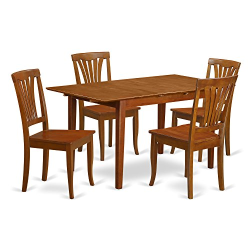 PSAV5-SBR-W 5 Pc dinette set for small spaces with Leaf and 4 Kitchen Dining Chairs