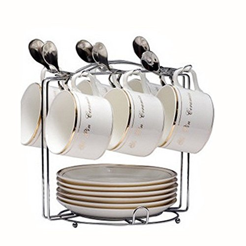 Yontree 6 Hooks Mugs Tree Cup Rack Dishes Organizer Style ()