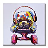SEVEN WALL ARTS Modern Animal Artwork 100% Hand-painted Oil Painting Stretched and Framed Ready to Hang for Living Room for Home Decor (24 x 24 Inch, Pulley Dog)