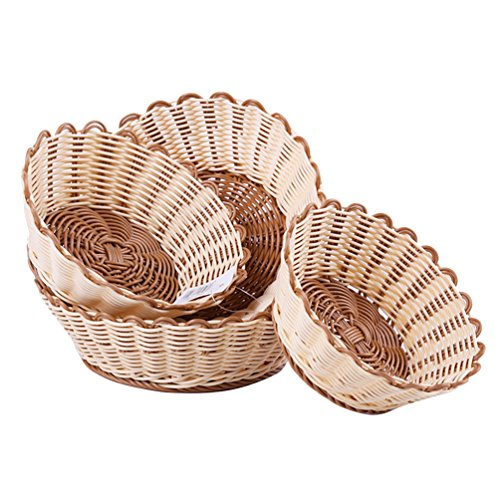 AODEW Wicker Basket Woven Fruit Vegetable Dessert Basket Bread Roll Baskets Storage Basket for Food by AODEW