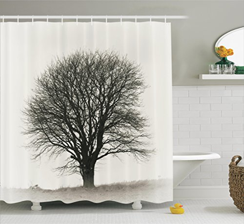 Farm House Decor Shower Curtain Set By Ambesonne, Photo Of A Big Tree On A  Field Branches Fall Season Monochromic Landscape Artwork, Bathroom  Accessories, ...