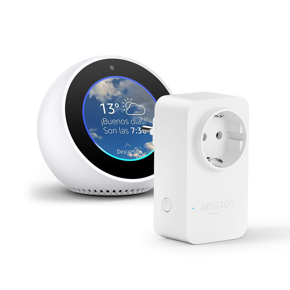 Amazon Echo Spot, blanco + Amazon Smart Plug (enchufe inteligente wifi), compatible con Alexa