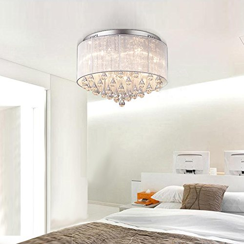 DINGGU™ Flush Mounted Luxury Contemporary Drum Ceiling Chandelier Light Fixtures with Cylinder Lamp Shade for Bedroom by DINGGU (Image #3)