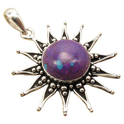 Original PURPLE COPPER TURQUOISE Retro SUN Pendant ! 925 Sterling Silver Plated Jewelry Retailer