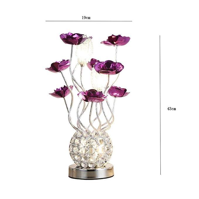 WI Lámpara de mesa Led de flores rojas y púrpuras, estilo ...