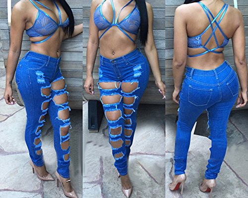Dchirs Denim Slim Bleu Trou Crayon Pantalons Stretch Slim Skinny Femme Fonc Pants Jeans Dchirs Jeans WqvcR4