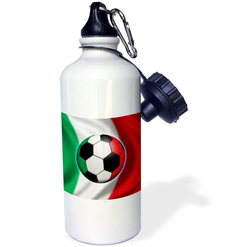 3dRose wb_155053_1 ''Italy soccer ball concept Italian flag banner waving national country'' Sports Water Bottle, 21 oz, White