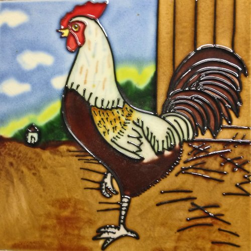 Continental Art Center BD-0019 8 by 8-Inch Black and White Rooster Ceramic Art Tile (Rooster Tile Box)
