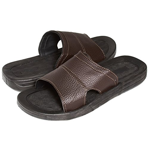 Skysole Mens Faux Leather One Band Slides Rugged Sandals, Brown 11 (Slides Leather Casual)