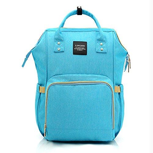 Bolso de la momia, bolso de múltiples funciones de la mamá de la gran capacidad, morral de los hombros, bolso de la madre de la manera, bolso del bebé de la madre ( Color : Blue-purple ) Azul