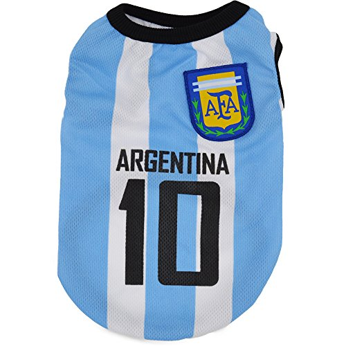 Dog Vest Quno World Cup Soccer Team Pet T-shirt Clothes Supplies Apparel for Cat Puppy Summer Costumes Argentina Team L Pack of (16 Soccer Team Polyester)