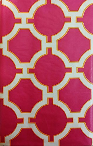Design Vinyl Umbrella Tablecloth (Geometric Link Lattice Design with Zipper Umbrella Hole Vinyl Flannel Back Tablecloth (Fuchsia, 52