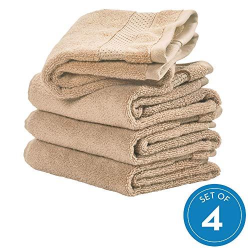 InterDesign Spa Hand Hanging Loop, 100% Cotton Soft Absorbent Machine Washable Towel for Bathroom, Shower, Tub, Set of 4, Linen