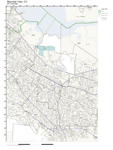 Mountain Home Ar Zip Code Map.Amazon Com Zip Code Wall Map Of Mountain View Ca Zip Code Map Not