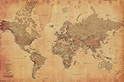 Laminated World Map Vintage Style Poster Print, Double Sided Laminate, Size 36 X 24