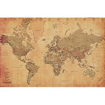Amazon laminated world map vintage style poster print laminated world map vintage style poster print double sided laminate size 36 x 24 gumiabroncs Images
