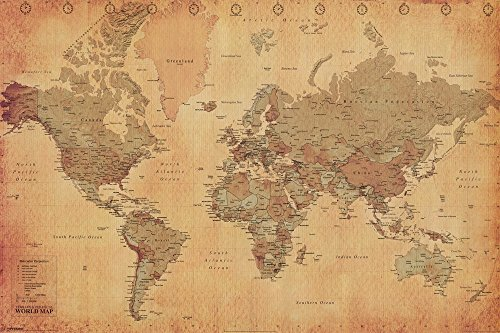 Laminated World Map Vintage Style Poster Print, Double Sided