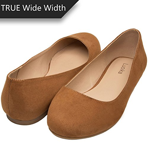 Luoika Women's Wide Width Flat Shoes - Comfortable Slip On Round Toe Ballet Flats. (180110Brown Suede,10WW)