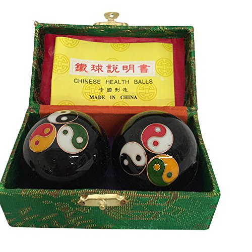 Baoding Balls Chinese health Massage Exercise Stress Balls - Black Triple YinYang #3