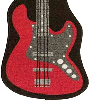 Great Red Black Rock Guitar Rug Mat 1 Pc / For Boys / Teens