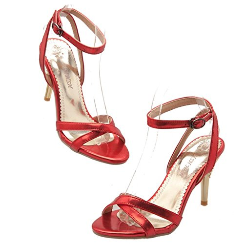 COOLCEPT Damen Sommer Straps Sandalen Stiletto Red