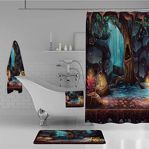 iPrint Bathroom 4 Piece Set Shower Curtain Floor mat Bath Towel 3D Print,Landscape with a Big Tree Treasure Chest Lamps,Fashion Personality Customization adds Color to Your (Fine Feather Floor Lamp)