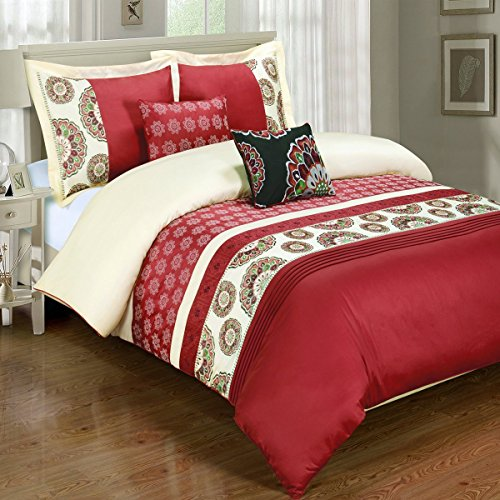 5PC Chelsea Full/Queen Embroidered Duvet Cover Set, Red, by Royal Hotel