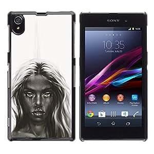 Caucho caso de Shell duro de la cubierta de accesorios de protección BY RAYDREAMMM - Sony Xperia Z1 L39 - Oscuro Belleza - B & W Chica