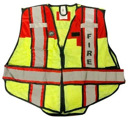 FIRE NINJA FIRE VEST-Class 2 Reflective Public Safety Vests-Double Breakaway Zipper- 6 Point Breakaway Vest (OVERSIZED, RED)