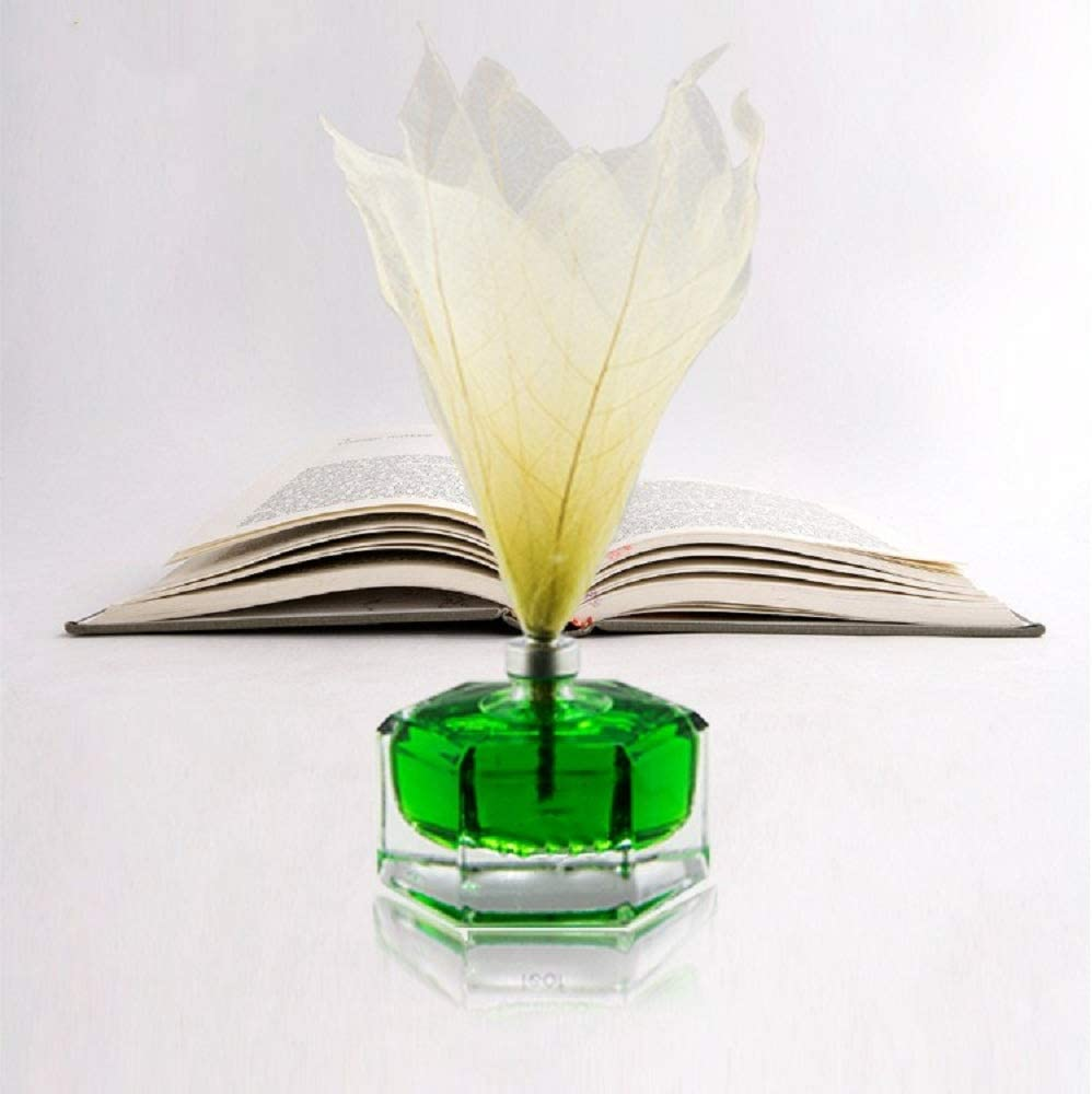 "HOSSIAN Decor 2pcs 9""Leaf Vein Flower-Diffuser Glass Bottles-Diffuser Sticks-Essential Oil Diffuser Refills-Spa-Aromatherapy(9""*3"")"