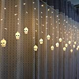 certainPL Window Curtain Light, 11.5ft - 96 LEDs Icicle, Pumpkin Skull LED String Icicle for Indoor Outdoor Hallowen Party Decoration