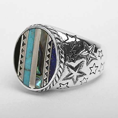 Bishilin Silver Plated Rings for Men Skull Partner Rings Silver Size 12 by Bishilin (Image #1)'