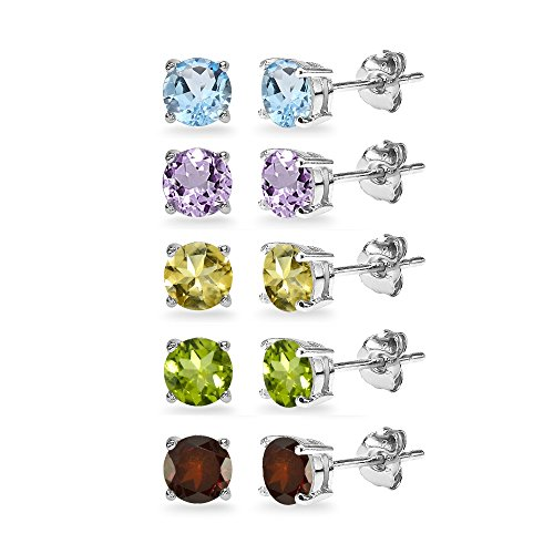 - 5-Pair Set Sterling Silver Amethyst, Blue Topaz, Citrine, Garnet & Peridot 5mm Round Stud Earrings