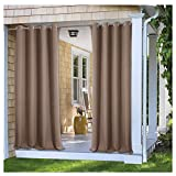 PONY DANCE Outdoor Shades for Patio - Stain Repellant Panels Thermal Insulated Blackout Curtain Drapery Privacy Protect Light Filter for Gazebo, 52'' W x 95'' L, Mocha, Set of 1 Piece