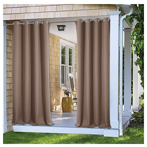 PONY DANCE Outdoor Shades for Patio - Stain Repellant Panels Thermal Insulated Blackout Curtain Drapery Privacy Protect Light Filter for Gazebo, 52'' W x 95'' L, Mocha, Set of 1 Piece by PONY DANCE