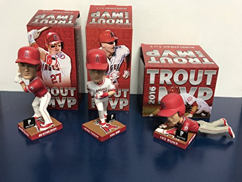 (Complete Set of ALL 3 Mike Trout Los Angeles Angels 2016 TROUT MVP BOBBLE Bobblehead SGA)