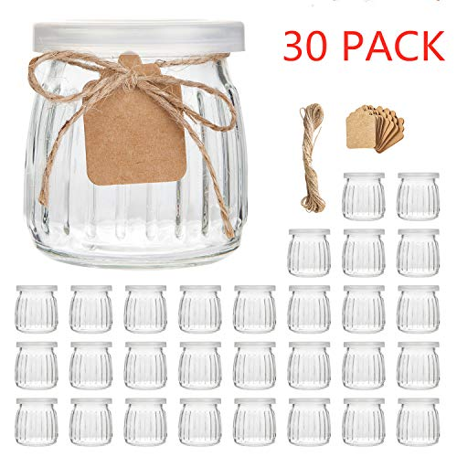 Glass Jars,Encheng 7 oz Glass Yogurt Jars With Lids(PE),Replacement Glass Pudding Jars With Plastic Tops,Clear Glass Yogurt Container With Twine n Tag For Milk,Jams,Jelly,Mousse,Dishwaresafe 30 Pack