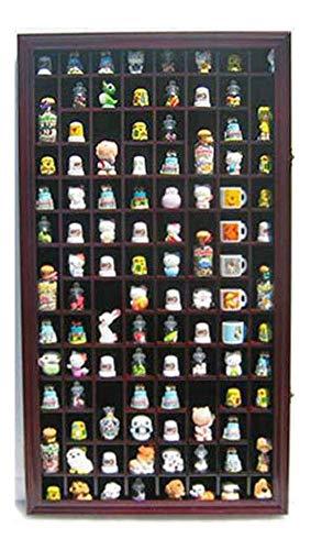 100 Thimble Display Case Cabinet Shadow Box, Glass Door, Solid Wood Mahogany
