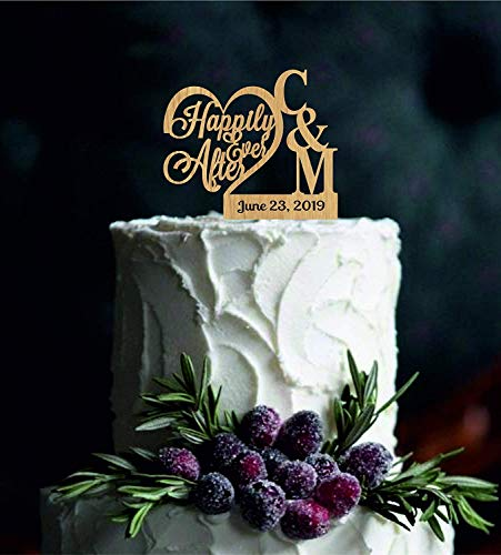 - Cheyan Wedding Cake Topper for the Couple Happily Evet After With Your Names First Letters And Wedding Date Monogram Custom Wedding Decor Name Personalized