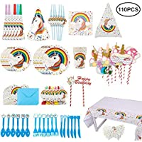 110-Pieces Unicorn Girls Party Decorations Supplies Kit