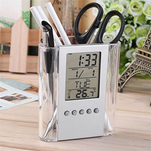 Clock Cup Pen (Pencil Holder with LCD Display Alarm Clock Thermometer Calendar, Pen Holder Cup Holder Pen Organizer for Desk Office)