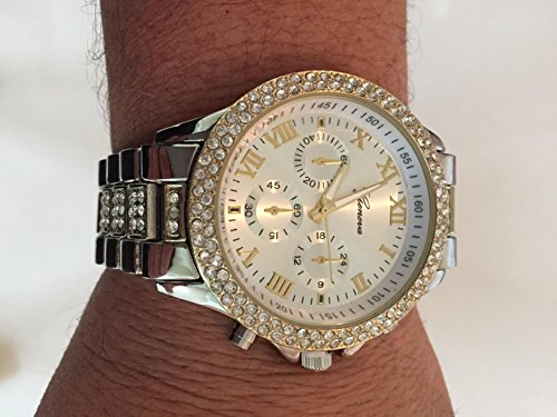 14K Gold Plated Hip Hop Iced Out Men's Geneva Cz Cucic Zirconia Studded Watch