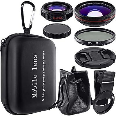 3 en 1 Kit de lentes de cámara para teléfono móvil, AFUNTA HD Clip-on 0.5X Super Gran Angular, 12.5X Macro y Lente Polarizada Circular CPL para Smartphone iPhone iPad Samsung La mayoría